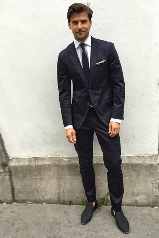 How to wear: black tie, black suede loafers, white dress shirt, black suit