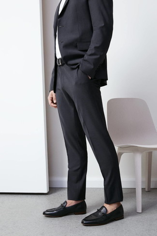 Men's Black Leather Belt, Black Leather Loafers, White Dress Shirt, Charcoal Suit
