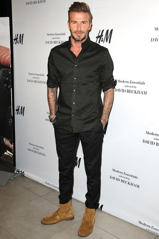 David Beckham wearing Black Long Sleeve Shirt, Black Chinos, Tan Suede Casual Boots