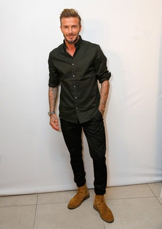 David Beckham wearing Black Long Sleeve Shirt, Black Chinos, Tobacco Suede Casual Boots