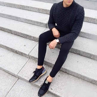 How to wear: black leather watch, black low top sneakers, black skinny jeans, charcoal cable sweater