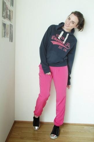 How to wear: black low top sneakers, hot pink pajama pants, navy print hoodie