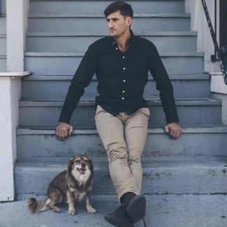 How To Wear a Long Sleeve Shirt With Chinos: Infuse personality into your current casual fashion mix with a long sleeve shirt and chinos. Inject a more relaxed vibe into your ensemble by finishing off with black canvas low top sneakers.