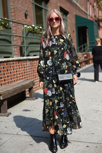 How to wear: black floral chiffon maxi dress, black leather ankle boots, black leather crossbody bag, red sunglasses
