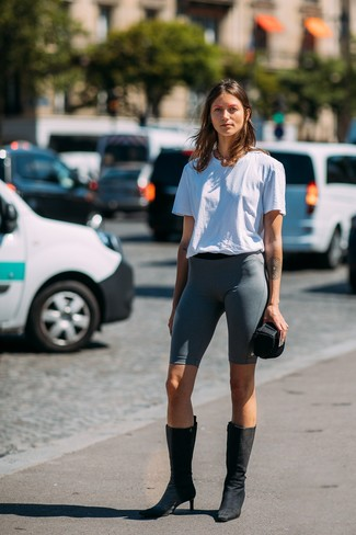 How to wear: gold necklace, black suede mid-calf boots, charcoal bike shorts, white crew-neck t-shirt