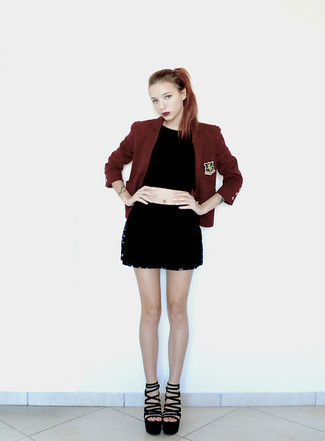 How to wear: black suede heeled sandals, black mini skirt, black cropped top, burgundy blazer