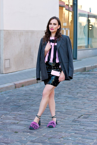 How to wear: pink fur flat sandals, black sequin mini skirt, pink and black vertical striped crew-neck t-shirt, charcoal blazer