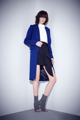 How to wear: grey cutout suede ankle boots, black ruffle mini skirt, white turtleneck, blue coat