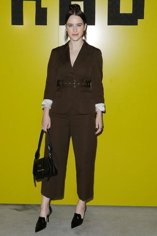 How to wear: black leather handbag, black leather mules, dark brown wide leg pants, dark brown blazer