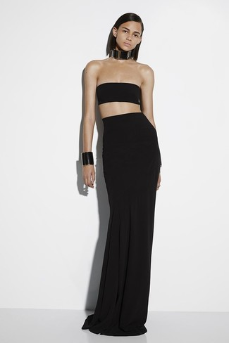 How to wear: black leather bracelet, black leather necklace, black pleated maxi skirt, black cropped top