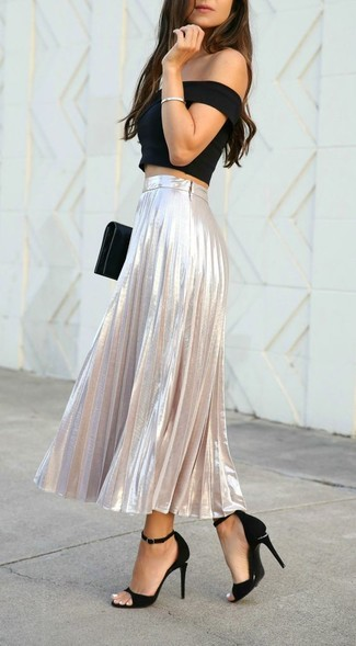 Choose a black off shoulder top and a silver pleated maxi skirt to get a laid-back yet stylish look. Polish off the ensemble with black suede heeled sandals. This look isn't a hard one to score and it's summer-friendly, which is more important when it's super hot outside.