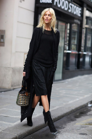 How to wear: black knit open cardigan, black cable sweater, black cami dress, black suede lace-up ankle boots