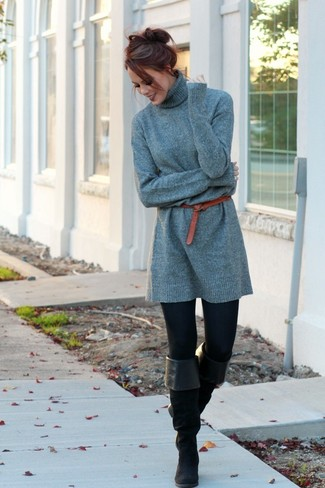 How to wear: red leather belt, black suede over the knee boots, black leggings, grey sweater dress