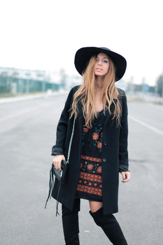 How to wear: black wool hat, black suede over the knee boots, black embroidered shift dress, black coat