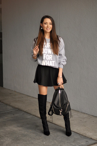92cce20463bc7 How To Wear Over The Knee Boots With a Skater Skirt (41 looks ...
