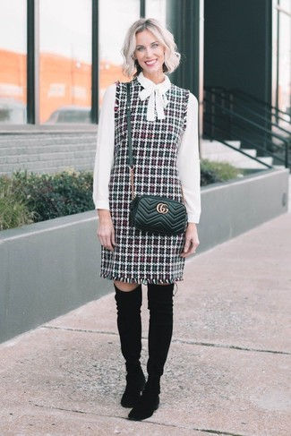 How to wear: black quilted leather crossbody bag, black suede over the knee boots, white long sleeve blouse, multi colored tweed overall dress