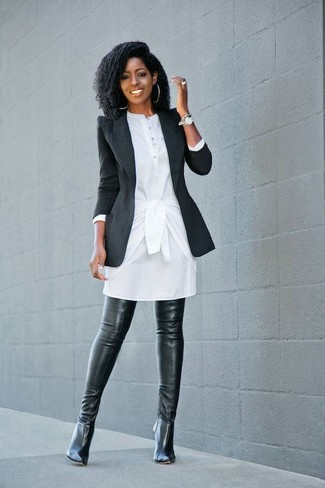 How to wear: silver watch, black leather over the knee boots, white shirtdress, black blazer