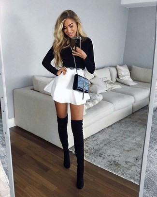 How to wear: black leather crossbody bag, black suede over the knee boots, white skater skirt, black cropped sweater