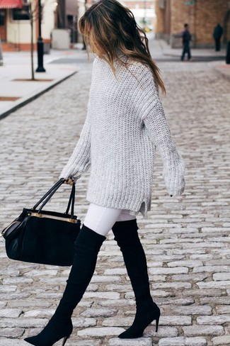 How to wear: black suede satchel bag, black suede over the knee boots, white skinny jeans, grey knit oversized sweater