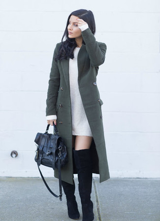 How to wear: black leather satchel bag, black suede over the knee boots, white sweater dress, dark green coat