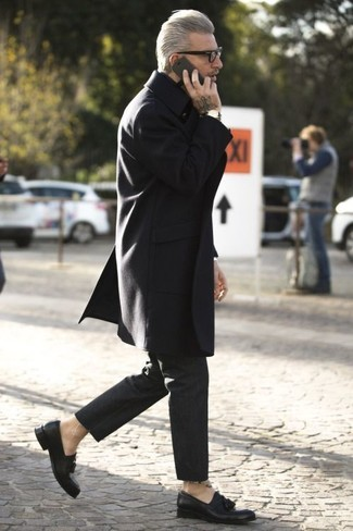 Domenico Gianfrate wearing Black Overcoat, Black Chinos, Black Leather Tassel Loafers