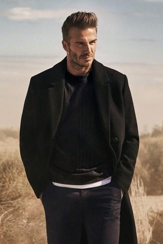 David Beckham wearing Black Overcoat, Black Crew-neck Sweater, White Crew-neck T-shirt, Navy Dress Pants