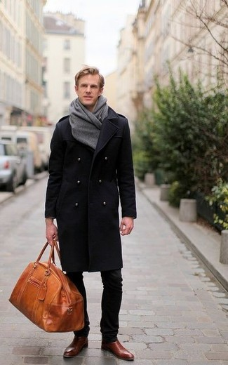 How to wear  black overcoat, dark brown leather chelsea boots, tobacco  leather duffle 16d78a5cee