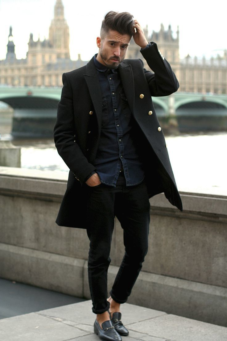 How To Wear a Navy Shirt With Black Jeans | Men's Fashion