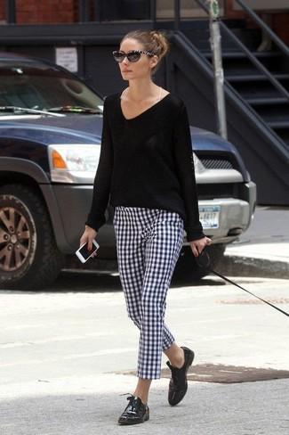 582ef76cf6 Olivia Palermo. Olivia Palermo wearing Black and White Sunglasses ...
