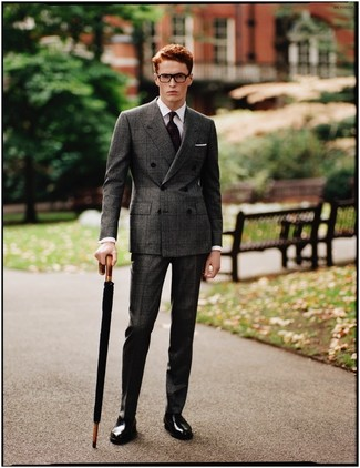 How to wear: dark purple print tie, black leather oxford shoes, white dress shirt, charcoal check suit