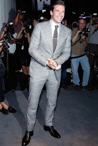 How to wear: grey knit tie, black leather oxford shoes, white dress shirt, grey plaid suit
