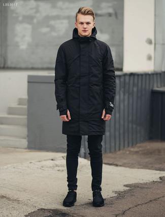 How to wear: black parka, black skinny jeans, black suede athletic shoes