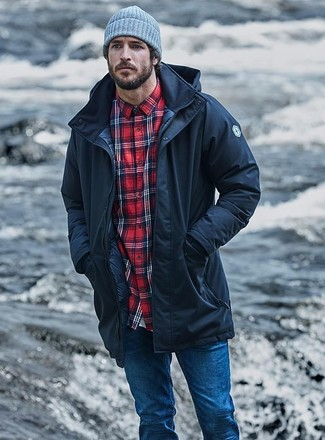 How to wear: black parka, red plaid long sleeve shirt, blue skinny jeans, grey beanie