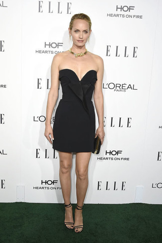 Dress to impress in a black party dress. Round off this look with black leather heeled sandals.