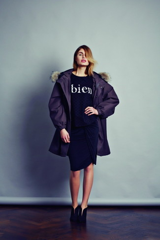 How to wear: black suede ankle boots, black pencil skirt, black and white print crew-neck sweater, dark purple parka