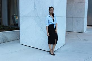 How to wear: black leather pumps, black slit pencil skirt, black cropped top, light blue dress shirt