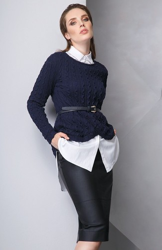 How to wear: black leather waist belt, black leather pencil skirt, white dress shirt, navy cable sweater