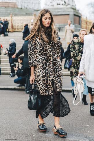 How to wear: black leather bucket bag, black leather platform loafers, black mesh midi skirt, beige leopard fur coat