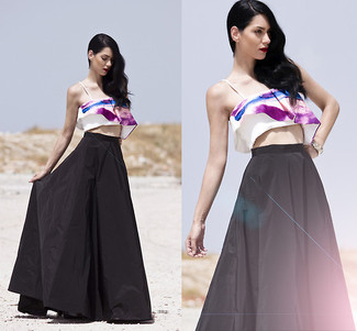 How to wear: black pleated maxi skirt, white and purple print cropped top