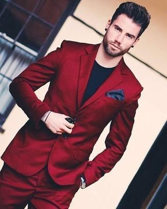 How to wear: black leather watch, black silk pocket square, black crew-neck t-shirt, burgundy suit