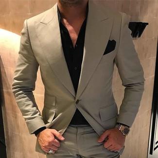 How to wear: gold watch, black pocket square, black dress shirt, beige suit
