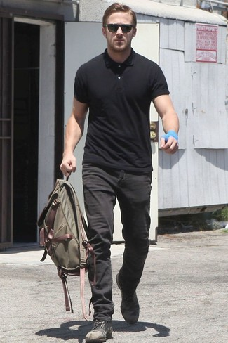 Ryan Gosling wearing Black Polo, Black Jeans, Black Leather Casual Boots, Olive Canvas Backpack