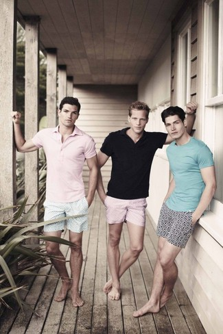 How to wear: black polo, pink print shorts