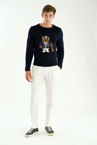 Look the best you possibly can in a black print crew-neck sweater and white dress pants. Common Projects Bball Leather Sneakers will add more playfulness to your look. It goes without saying that this one makes for a great, spring-friendly look.