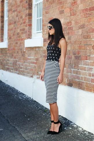 Black print sleeveless top white and black horizontal striped pencil skirt black suede pumps large 1105