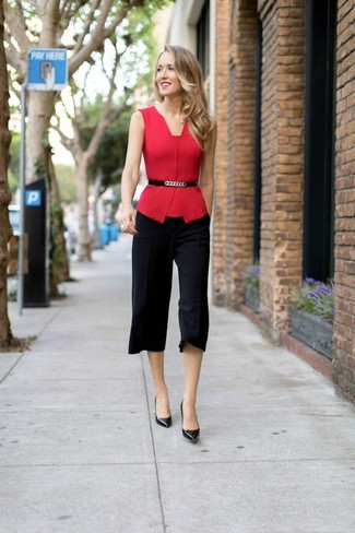 How to wear: black embellished leather waist belt, black leather pumps, black culottes, red sleeveless top