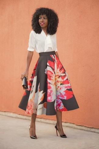 How to wear: black leather clutch, black leather pumps, black floral full skirt, white ruffle long sleeve blouse