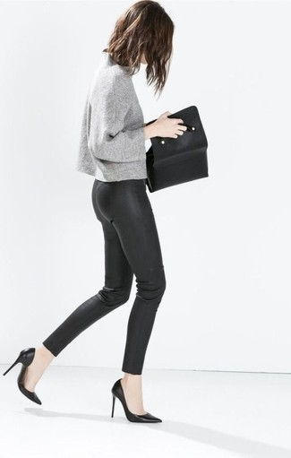 How to wear: black leather clutch, black leather pumps, black leather leggings, grey crew-neck sweater