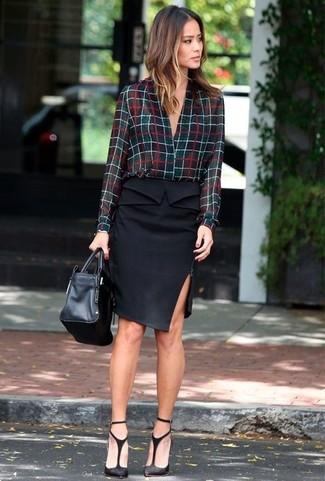 How to wear: black leather tote bag, black cutout suede pumps, black pencil skirt, black check button down blouse