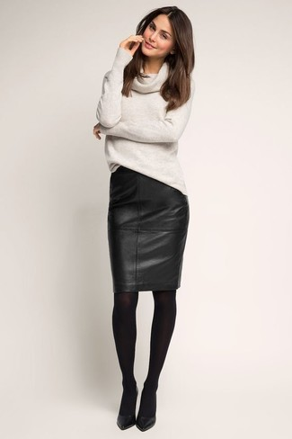 How to wear: black tights, black leather pumps, black leather pencil skirt, grey cowl-neck sweater